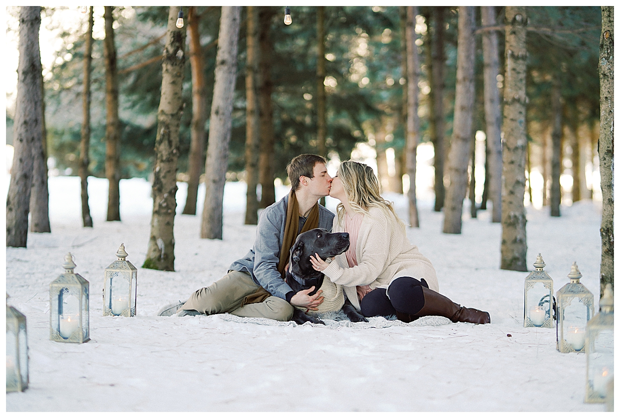 surprise winter proposal, rice creek wedding venue, minnesota engagement photographer, dogs in your engagement session,